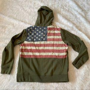 Ralph Lauren Denim & Supply olive hoodie with flag